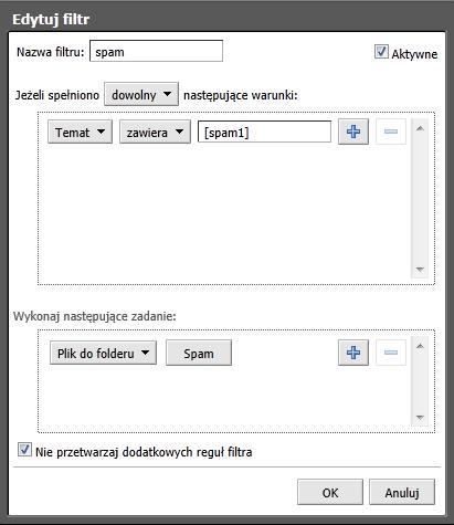 6b5931865e5565 Od teraz wiadomości oznaczone jako [spam1] będą automatycznie przenoszone  do folderu Spam.